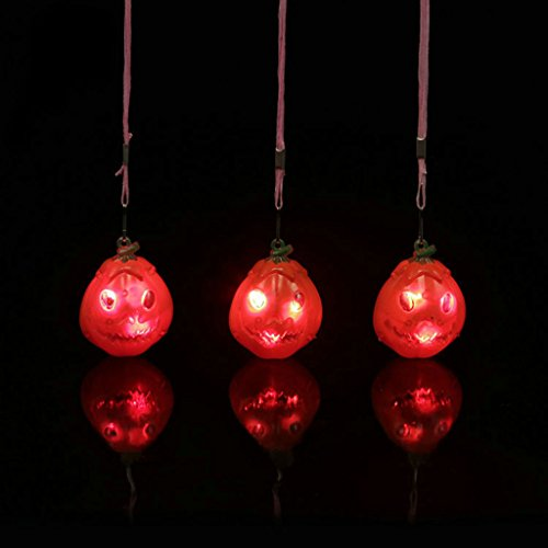 LED-Blinklicht bis Totenkopf Kürbis Anhänger Halskette Party Kids Toys, plastik, kürbis, Einheitsgröße (Passende Baby-und Kleinkind-halloween-kostüme)