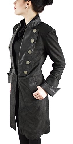 Fiora - Damen Echt Leder Pirat Gothic Ledermantel (XL) (Blue Pirat Mantel)