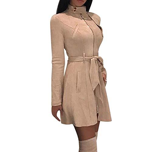 Chaquetas Largas Cremallera Elegantes de Mujer Invierno,PAOLIAN Abrigo con cinturón Rebajas Retro otoño Señora Vestido Traje Sexy Ajustado Rompevientos Cuello Alto Parka Trench Bolero