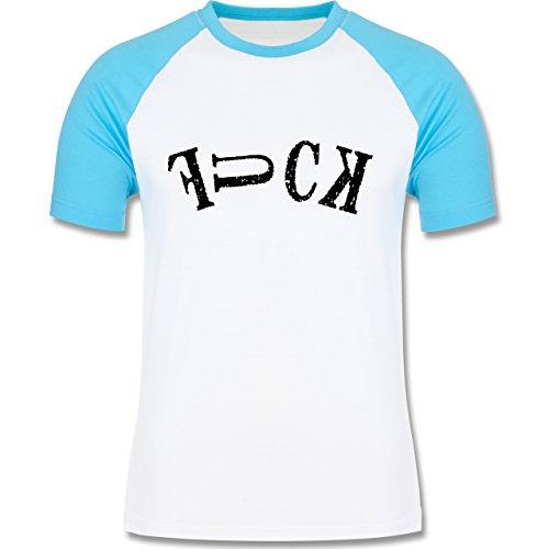 Statement Shirts - FUCK - zweifarbiges Baseballshirt für Männer Weiß/Türkis