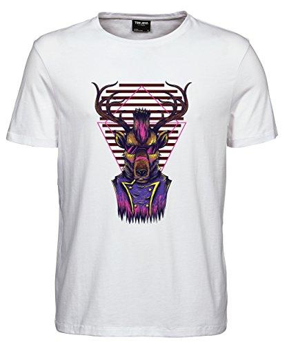 makato Herren T-Shirt Luxury Tee Funky Deer White