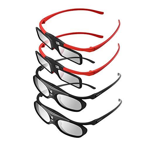 BOBLOV 3D Gafas Activas de Obturador, 96-144Hz 3D Gafas DLP-Link para DLP Proyector Optoma/BenQ/Sharp/Acer/Samsung/Mitsubishi/ViewSonic/LG ect(Paquete Familia)