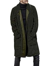 b838e362ac72 Mantel Herren Mode Lose Warme Plüschjacke Pelzige Doppelseitige Mantel  Lange Parka Wintermantel Revers Steppmantel Übergangsmantel