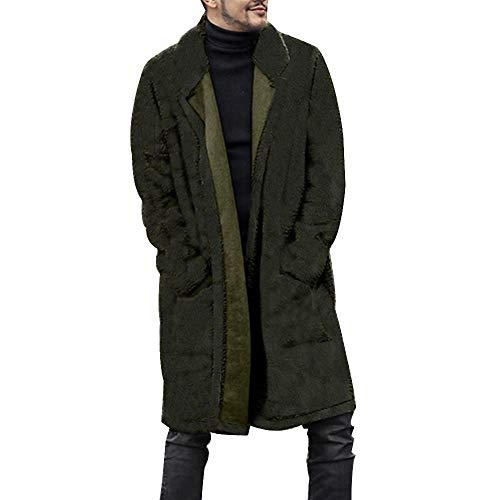 Mantel Herren Mode Lose Warme Plüschjacke Pelzige Doppelseitige Mantel Lange Parka Wintermantel Revers Steppmantel Übergangsmantel