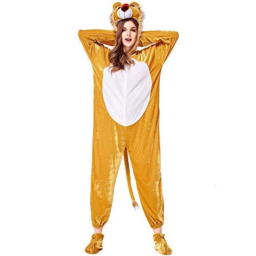 COSOER Tiere Cosplay Lion Kostüme Hooded Overalls Für Halloween Neutral Männlich/Weiblich Wear,M (Einfach Lion Kostüm Frauen)