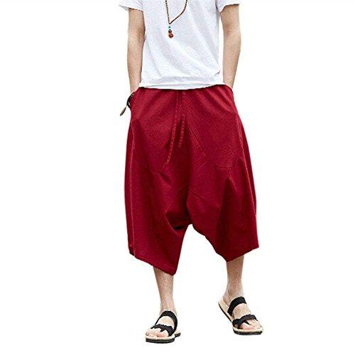 G-Like Caprihose Harem Ballonhose Pluderhose - Weite Beine Ausgeleiert Palazzons Knickerbocker Yoga 3/4 Hose Zigeuner Aladin Freizeit Kleidung für Männer Frauen - Baumwolle Hanf (Rot, 4XL) - Hanf Hosen Für Männer