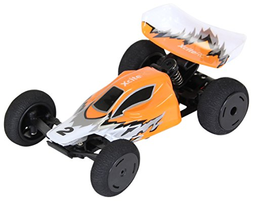 XciteRC 30802000 - High-Speed Racebuggy, 2WD Ready to Race Modellauto, 1:32 mit 2.4 GHz Fernsteuerung, orange/weiß/silber