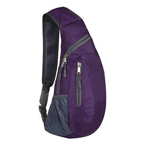 Brusttasche Sling Rucksack Schultertasche Brusttaschen für Damen und Herren Sporttasche (PURPLR)