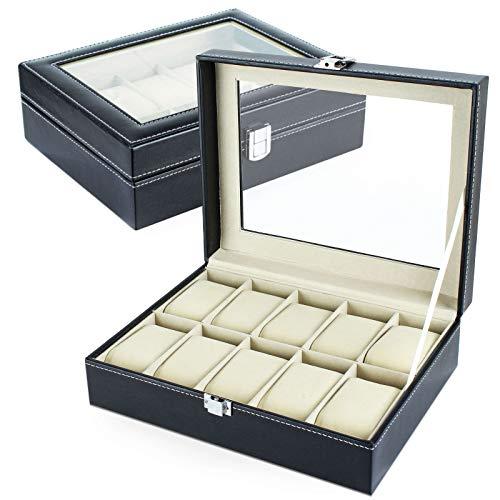 Silverback Uhrenkasten für 10 Uhren mit Glasscheibe aus Kunstleder in Schwarz Unisex