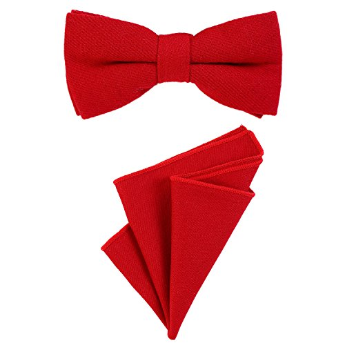 DonDon gent's bow tie 12 x 6 cm pre-tied size-adjustable and pocket handkerchief 23 x 23 cm matching colours in cotton