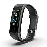 AIOXY Fitness Tracker Watch Activity Tracker Heart Rate Monitor Waterproof IP68 Sleep Monitor for Women Kids and Men Facebook Twitter Vibrating Reminder(2019 New),Black,BlackBottom