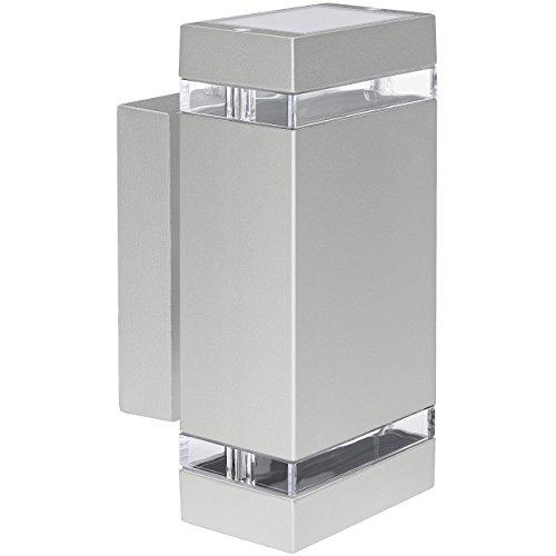 own Außen-Wandleuchte IP44 Aufbau-Leuchte Alu silber grau, incl. 2x LED Leuchtmittel 5W, 230V GU10 in warm-weiss 3000K (Up-leuchten)