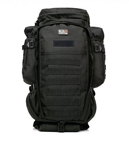 AireLibre 60L Taktischer Militärischer Rucksack Kompakt Angriff für Wandern Reisen Trekking Tasche Tactical Bag Assault Backpack Military Camping Pack Outdoor Daypacks (Schwarz) (Load Tactical Bearing)