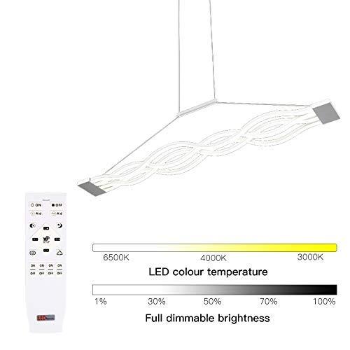 LED Pendelleuchte Dimmbar Höhenverstellbar Hängelampe 80W Deckenlampe mit Fernbedienung für Esszimmer Küche Schlafzimmer Wohnzimmer
