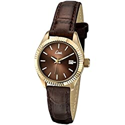 Limit Classic Brown Dial Gold Case Brown Strap Ladies Watch 6121