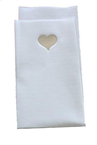 20x Luxus Airlaid Papier-Servietten 40x 40cm Besteck Falz–Silber Herz