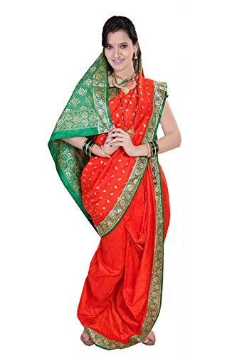 Bhartiya Vastra Bhandar Women's Ready to Wear Nauvari Saree(DNo13_SatinSmokButta_Multi-Coloured_FreeSize)