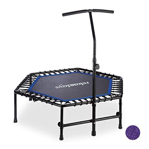 Relaxdays Indoor Trampolin, faltbar, höhenverstellbare Haltestange, Mini Trampolin Fitness, bis 120 kg, schwarz-blau