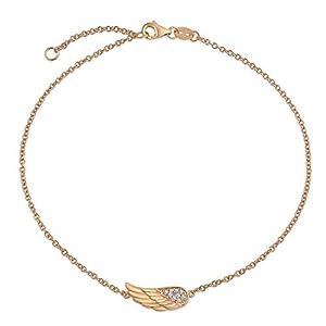 CZ Angel Wing Feather Fußkettchen Für Jugendlich Armband Für Damen Rose Vergoldet Sterling Silber 9-10 Zoll Extender