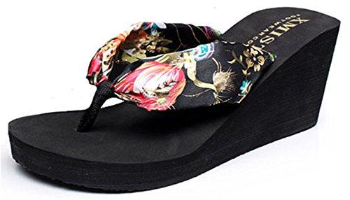 Good Night Modo della Boemia di stile di Zeppa Infradito sandali da spiaggia per le donne Nero