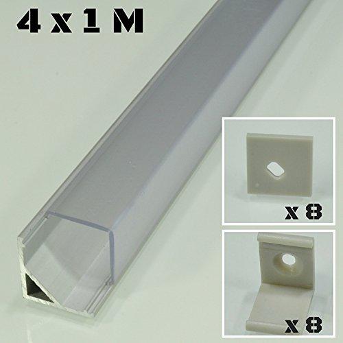 Lote de 4 x 1 metro perfil de aluminio P8 plateado para tiras LED con cubierta transparente, tapas y grapas de montaje incluidas