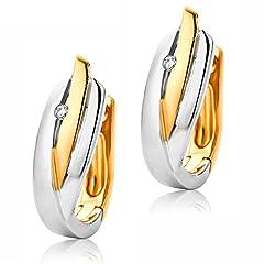 Idea Regalo - Orovi, orecchini a cerchio in oro giallo 9carati (375), a due colori: bianco oro e rose gold, orecchini con brillanti 0,01carato.