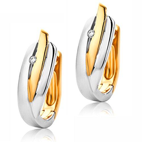 Creolen Ohrringe 9 Karat (375) Zweifarb/Weißgold und Rosegold Ohr-Schmuck Brillianten 0.03ct ()