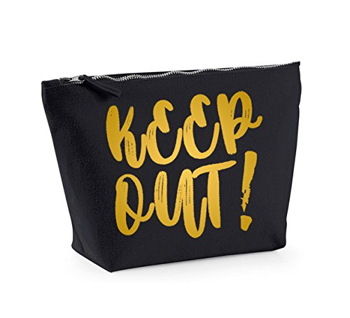 Keep Out - Fun Slogan, Make Up and Cosmetics Bag, Accessory Organiser Black/Gold