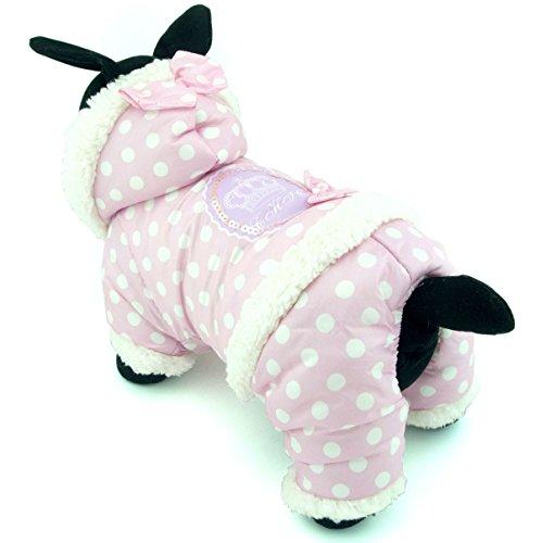 zunea Polka Dots Sweet Kleiner Hund Katze Overall Pyjama mit Kapuze Fleece gefüttert Pet Coat Winter Puppy Jacke Warme Kleidung Bekleidung