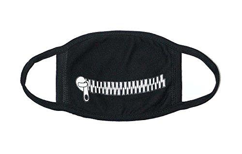 Sassy Pippi Unisex Süße Mundschutz Maske Emojimaske Kälteschutz Gesichtsmaske (Zipper-Schwarz)