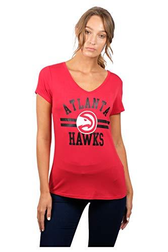 UNK NBA Damen T-Shirt V-Ausschnitt, kurzärmelig, Teamfarbe, Damen, T-Shirt V-Neck Relaxed Fit Short Sleeve Tee Shirt, rot, X-Large -