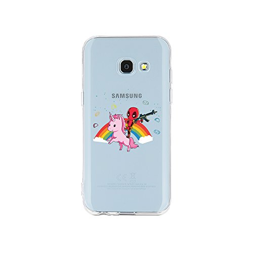 licaso Samsung Galaxy A3 (2017) Handyhülle TPU mit Superhero Riding Unicorn Print Motiv - Transparent Cover Schutz Hülle Superheld Einhorn Pink Aufdruck Druck