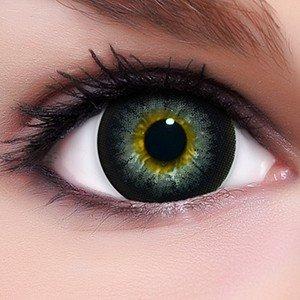 Circle Lenses graue 'Babe Grey' ohne und mit Stärke + Kombilösung + Behälter 15mm Big Eyes farbige Kontaktlinsen (Mime Halloween)