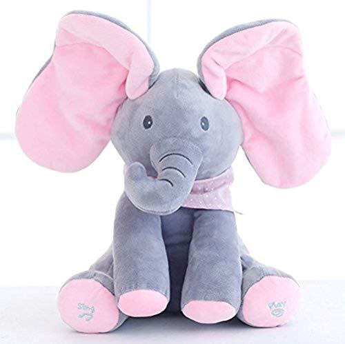 KINGEE-T Elefante de Peluche de Juguete Canciones de Canto Música Animada Orejas de Elefante Flappy Bebé de Peluche para Niños Muñeca de Regalo,Gray+Pink