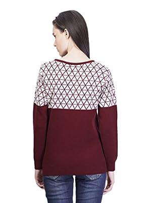 Women's Round Neck Jacquard Cotton Sweater
