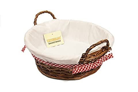 WoodLuv 33 x 29 cm Round Wicker Bread Basket with