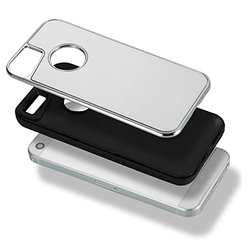 EKINHUI Case Cover Abnehmbare Dual-Layer-Shockproof-Rückseiten-Gehäuse Flexibler TPU-Innenschutz und verstärkter PC-Abdeckungs-Fall für iPhone 5s u. SE ( Color : Rose ) Silver