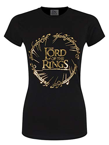 Lord Of The Rings (Herr der Ringe Damen T-Shirt Gold Logo schwarz