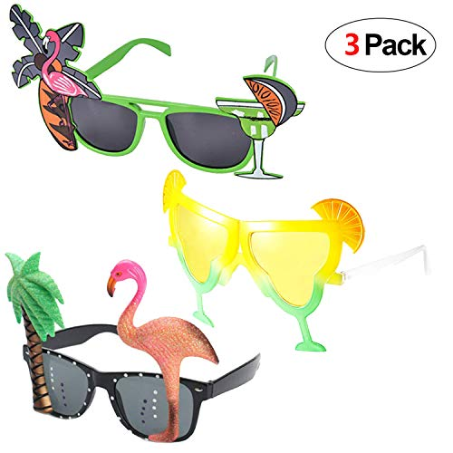 Kostüm Lustige Flamingo - Howaf 3 Paar Hawaiian Tropical Party Brille Set, Sommer Neuheit Party Sonnenbrille Foto Requisiten für Kinder Erwachsene Hawaii Luau Beach Party Kostüm Dekoration (Flamingo Palme u Cocktail)