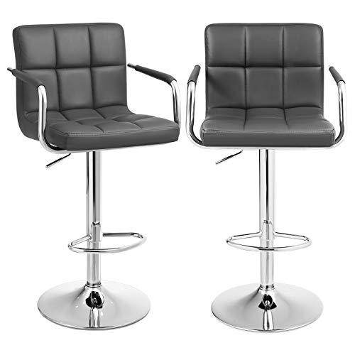 SONGMICS Barhocker 2er Set, höhenverstellbare Barstühle, Barstuhl mit PU-Bezug, 360° Drehstuhl, Küchenstühle mit Armlehnen, Rückenlehne und Fußstütze, verchromter Stahl, dunkelgrau LJB93GYZ