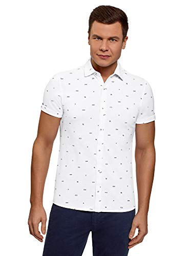 Oodji Ultra Hombre Camisa Algodón Manga Corta, Blanco