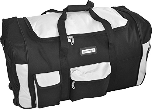 normani Reisetasche Jumbo Big-Travel mit Rollen riesige XXL Farbe Schwarz/Weiß