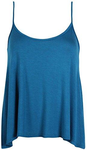Purple Hanger - T-Shirt Haut Caraco Femme Bretelle Fine Encolure Arrondie Sans Manche Uni Neuf bleu sarcelle