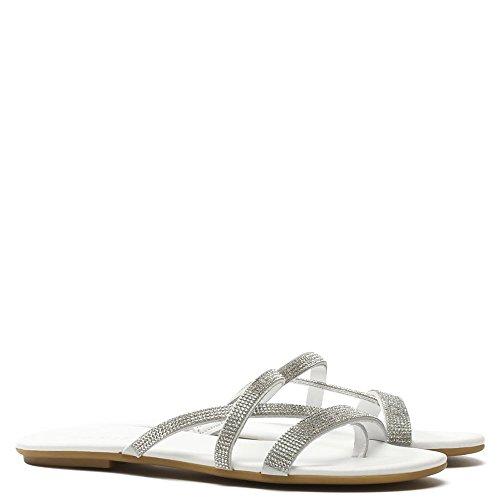 Daniel Crysrallise Cuir Blanc Strappy Sandal White Leather