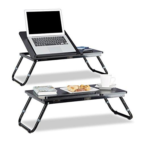 2x Laptoptisch höhenverstellbar, Knietisch klappbar, Betttablett neigbar, Knietablett, Betttisch, HBT: 41 x 75 x 35 cm
