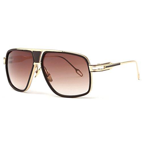 kimorn Sonnenbrille für Herren Retro Goggle Metallrahmen Classic Eyewear AE0336 (Gold&Braun, 62)