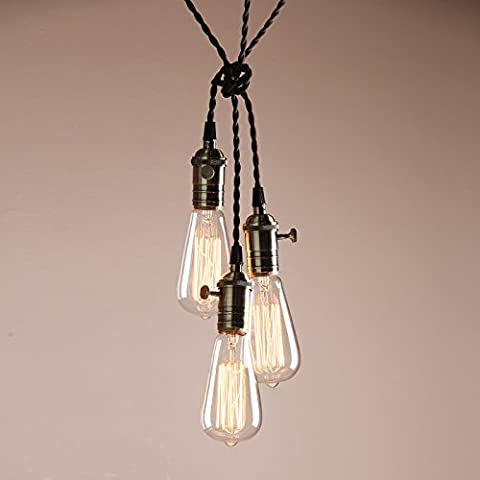 Buyee® Deco Cluster 1/3 Vintage Ceiling Light Antique Lampholder Hanging Lamp Retro Pendant Light with 2m Braided Ceiling Cable(bulb not included) (bronze finish)