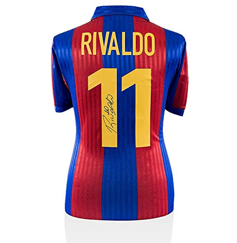 This superb replica 1992-style retro FC Barcelona carries fan style numbers that were signed by Brazilian legend Rivaldo during a private signing session organised and conducted by Icons in London on July 14th, 2017. Each signed shirt comes with an o...