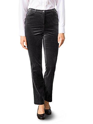 Walbusch Damen Exquisit Samt Stretchhose einfarbig Schwarz 21
