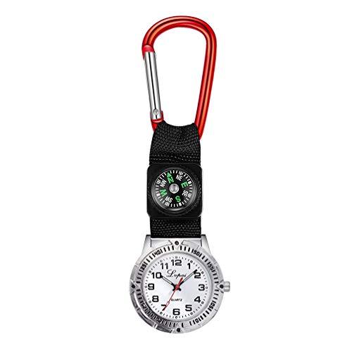 Hemobllo Taschenuhr Schwesternuhr Quarz Clip auf Uhr hängen medizinische Taschenuhr für Männer Frauen Mädchen Arzt (rot)
